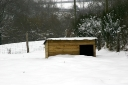 Pig sty begins to disappear as the snow drifts